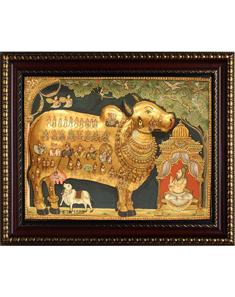 Antique Kamadhenu Tanjore Painting