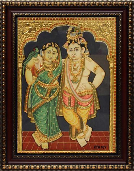 Antique Radha Krishna Tanjore Painting