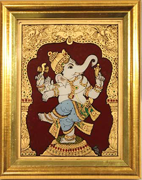 Dancing Ganesh Glass Tanjore Painting