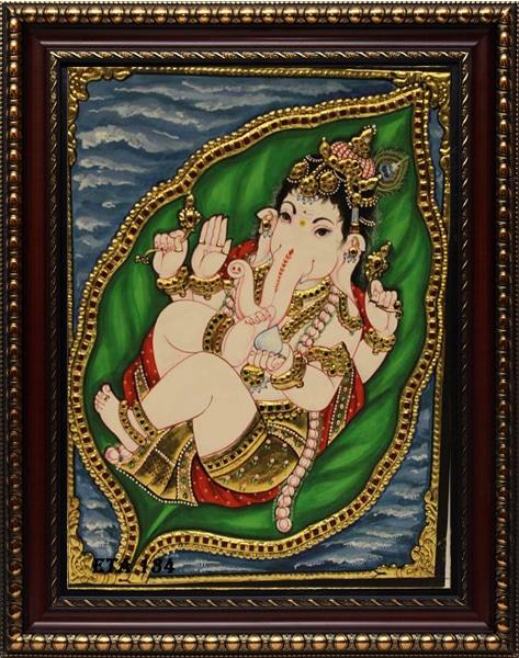 Leaf Ganesh Tanjore Painting