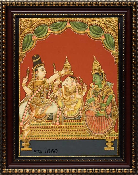 Special Antique Ganesh Pattabishakam Tanjore Painting