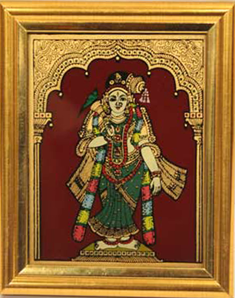 Glass Andal Tanjore Painting