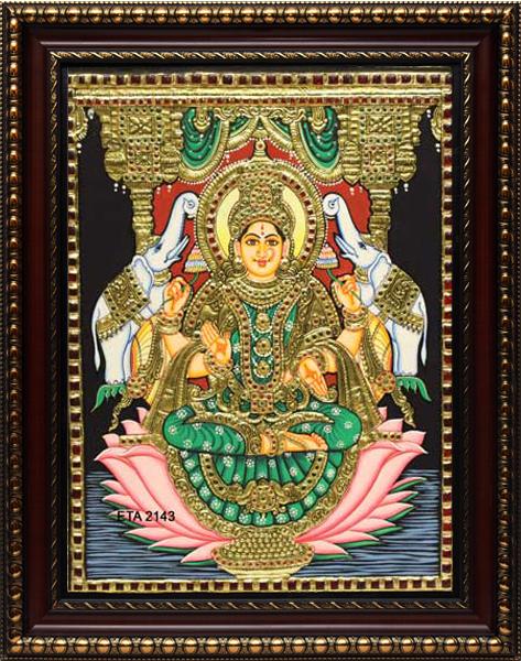 Lakshmi Lotus Tanjore Painting