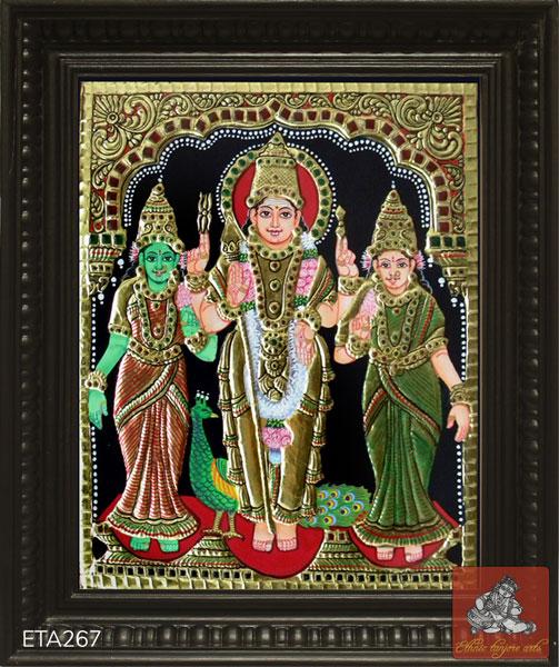 Lord Murugan Valli Deivanai Tanjore Painting