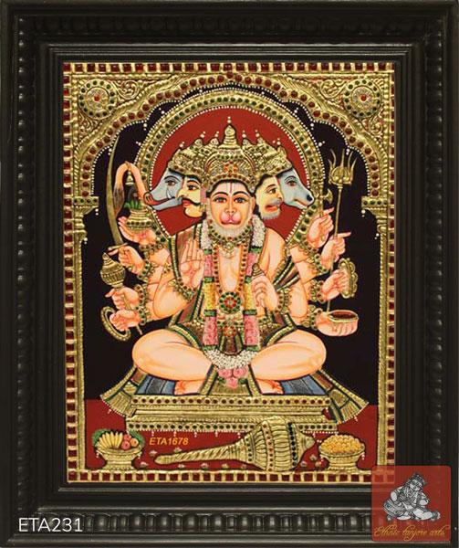 Panchamuka Hanumar Tanjore Painting