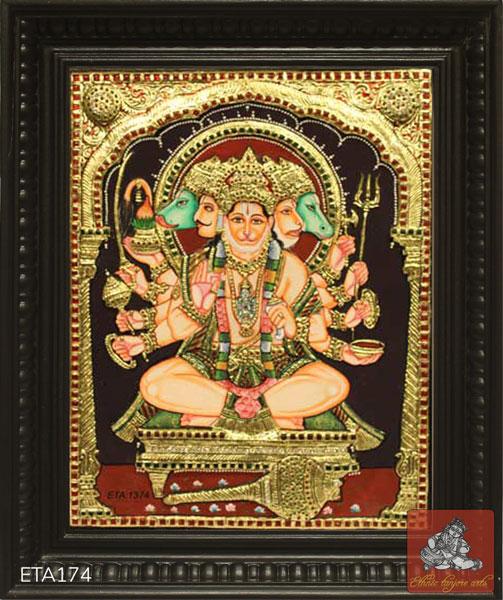 Panchamukhi Hanuman Tanjore Painting
