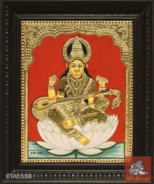 Goddess Saraswathi Tanjore Painting