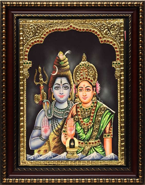 Siva Paravthy Tanjore Painting