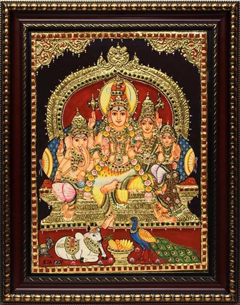 Siva Paravathi Tanjore Painting