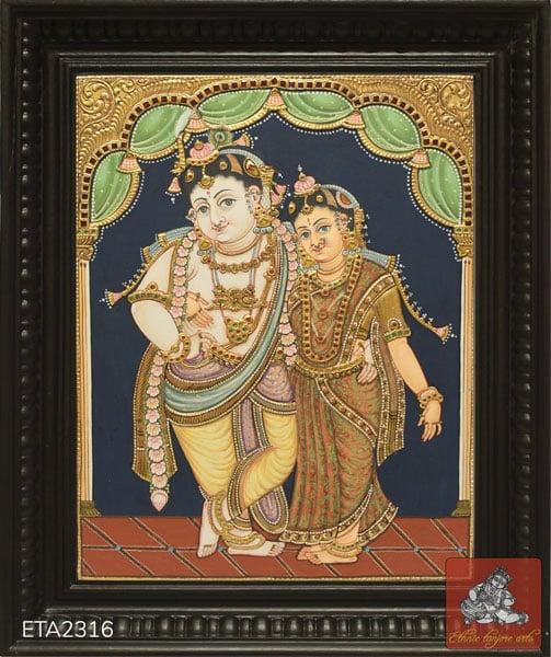 Antique Style Radha Krishna Tanjore Painting