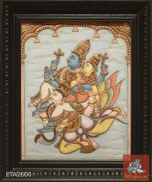 Garuda Sevai Antique Style Tanjore Painting