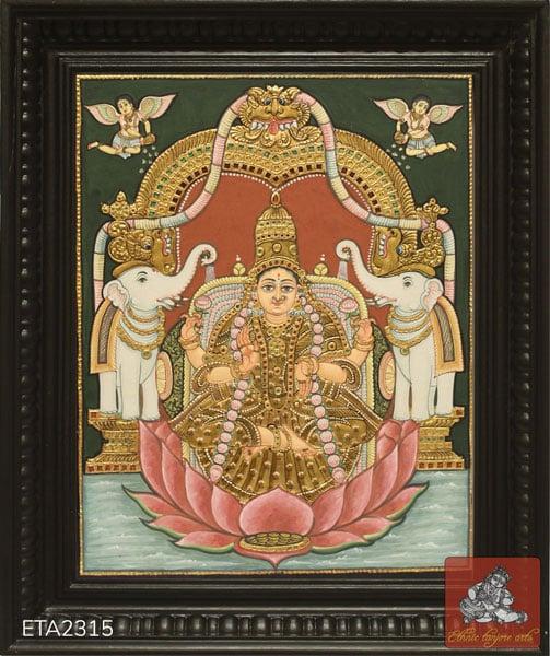 Lotus Lakshmi Antique Style Tanjore Painting