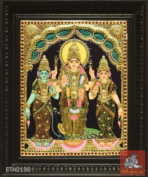 Murugan Valli Devayani Tanjore Painting