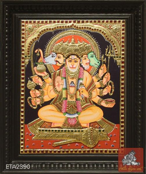 Panchamukha Hanuman Tanjore Painting