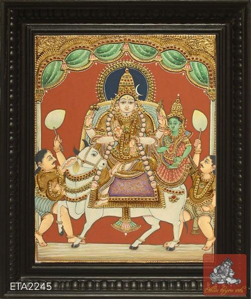 Rishaba Vahanam Antique Style Tanjore Painting