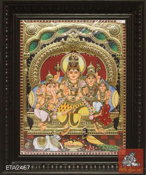 Lord Shiva Parvathi Family Tanjore Painting