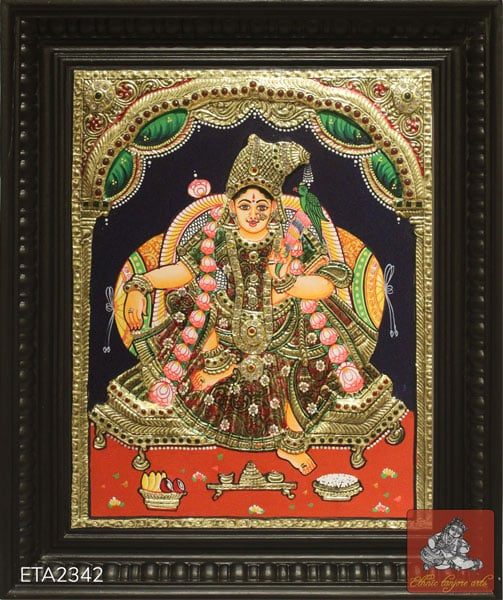 Sitting Andal Tanjore Painting