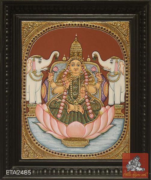 Goddess Lakshmi Antique Tanjore Painting