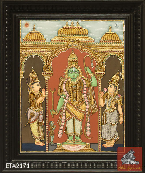 Lord Ramar Antique Tanjore Painting (15x12)