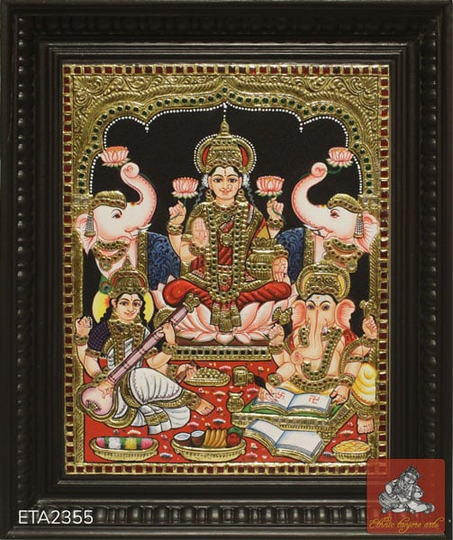 Goddess Diwali Puja Lakshmi Tanjore Painting