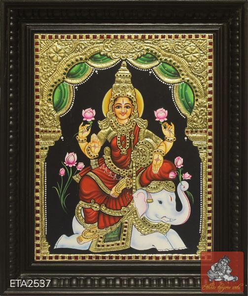 Goddess Elephant Lakshmi Tanjore Painting