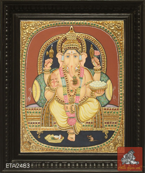 Lord Ganesh Antique Tanjore Painting