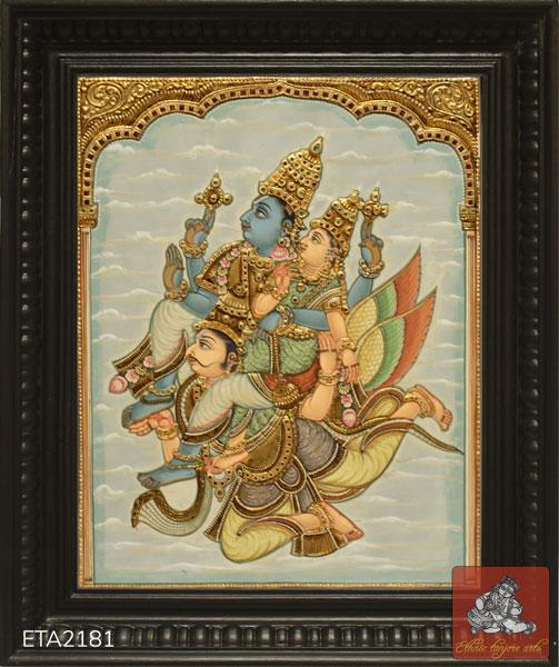 Lord Garuda Sevai Antique Tanjore Painting
