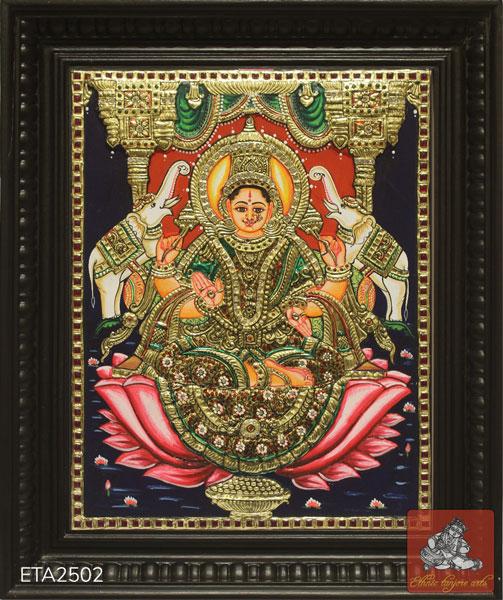Goddess Lakshmi Tanjore Painting (15x12)