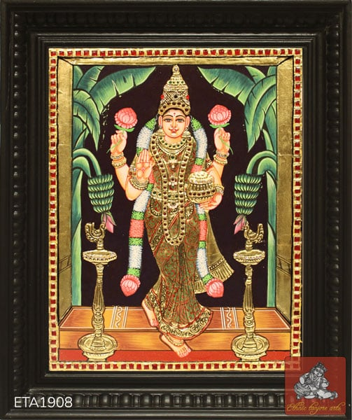 Goddess Gruha Lakshmi Tanjore Painting