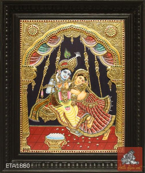 Lord Jula Krishna Tanjore Painting