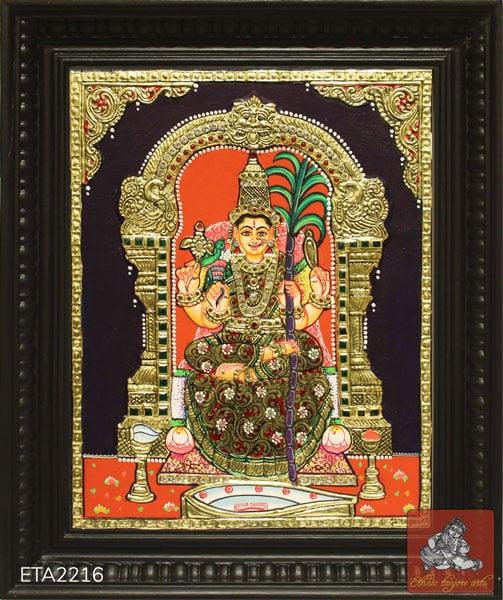 Goddess Kamakshi Amman Tanjore Painting