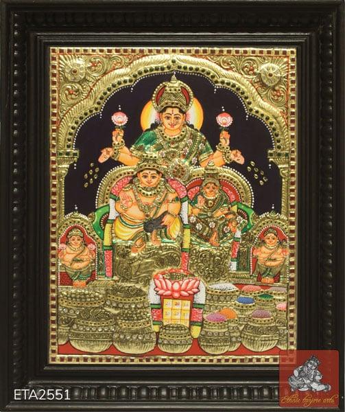 Goddess Kuber Lakshmi Tanjore Painting