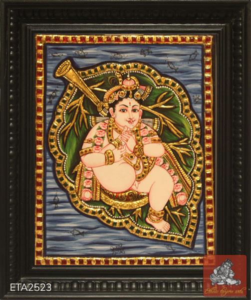 Leaf Krishna Tanjore Painting