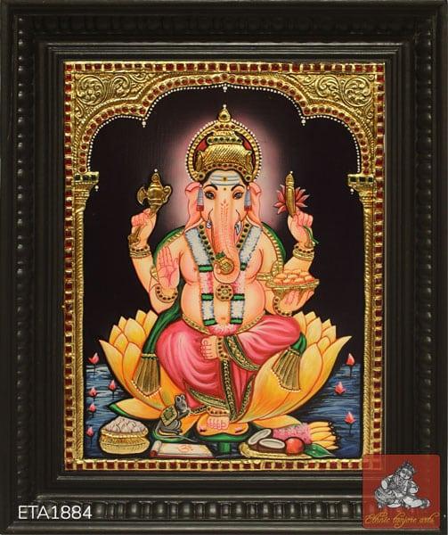 Lord Lotus Ganesh Tanjore Painting