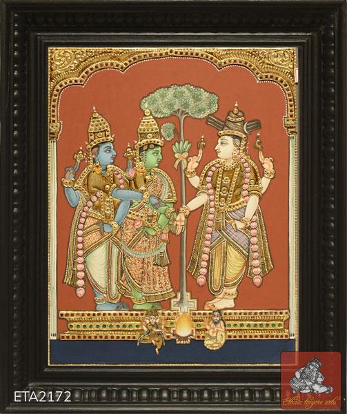 Meenakshni Kalyanam Antique Tanjore Painting