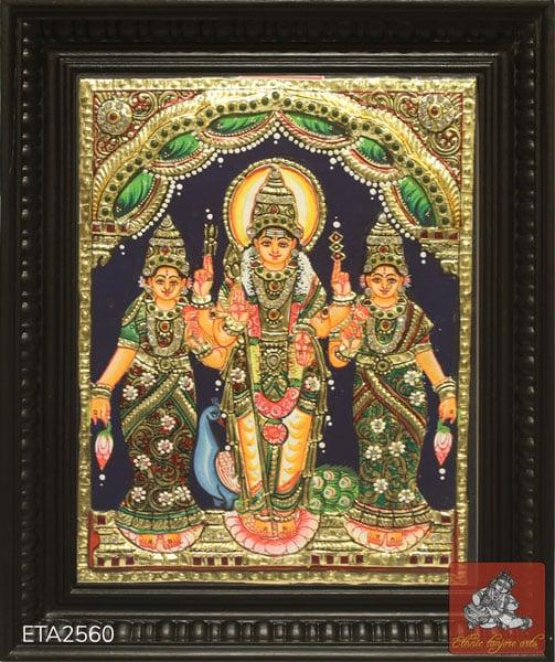 Murugan Valli Deivanai Tanjore Painting