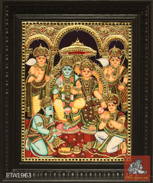 Lord Ramar Family Tanjore Painting