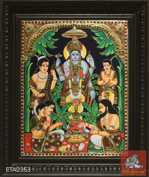 Lord Sathya Narayana Tanjore Painting