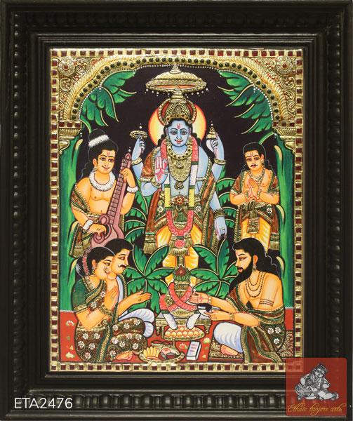 Lord Sathyanarayana Tanjore Painting