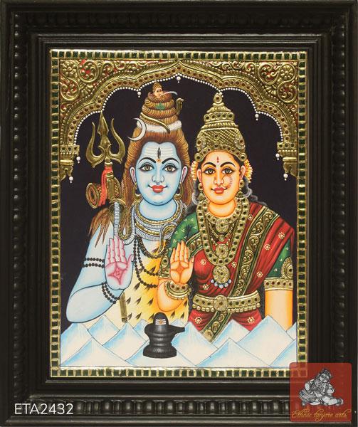 Lord Shiva Parvati Tanjore Painting