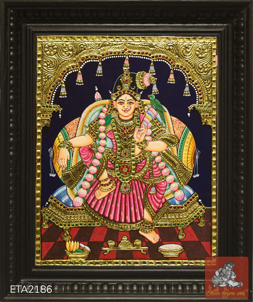 Goddess Sitting Andal Tanjore Painting