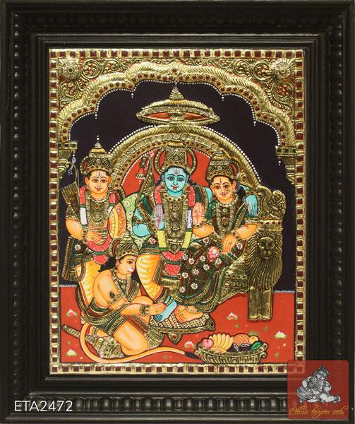 Sitting Lord Ramar Tanjore Painting (12x10)