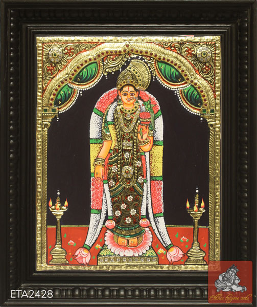 Standing Goddess Andal Tanjore Painting