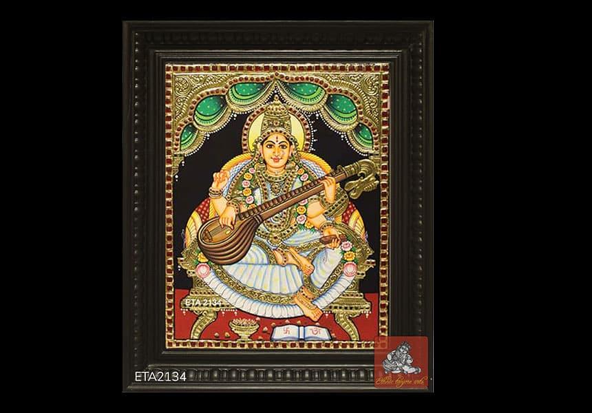 Top Selling goddess Saraswati Tanjore Painting Online