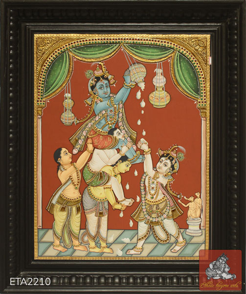 Balram Krishna Antique Tanjore Painting