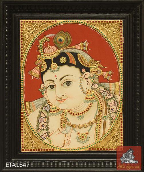 Facekrishna Antique Tanjore Painting