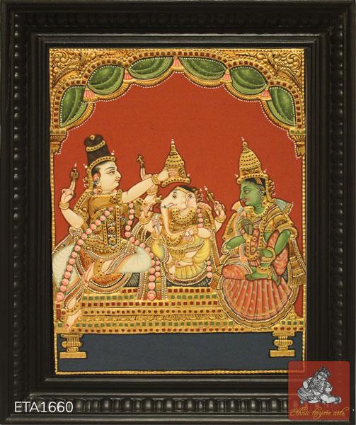 Ganesh Pattabishakam Antique Tanjore Painting