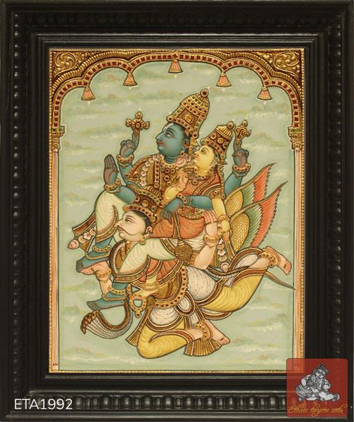 Garuda Sevai Antique Tanjore Painting
